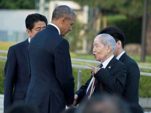 Sunao Tsuboi (R) was among a handful of Hiroshima survivors who met then US president Barack Obama during his historic visit to