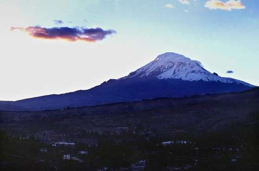 The Chimborazo volcano in the Ecuadoran province of Riobamba, some 240 kms (170 miles) south of Quito