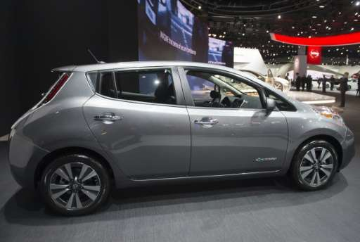 The Nissan Leaf electric vehicle is seen during the North American International Auto Show in Detroit, Michigan, January 10, 201