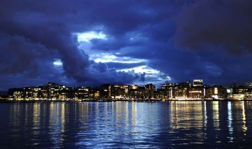 The skyline of Aker Brygge, the Norwegian capital Oslo's waterfront and entertainment area