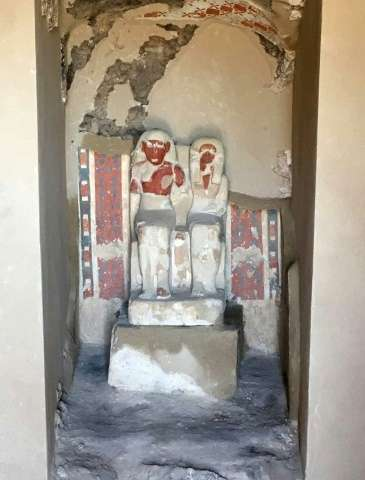 The tomb of a goldsmith dedicated to the ancient Egyptian god Amun unearthed by archaeologists in Luxor boasts a sculpture of hi