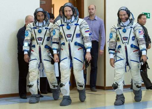 The trio will spend more than five months in space
