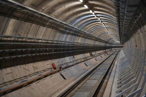 The tunnel is seen from the platform of the Canary Wharf Crossrail station in London on February 8, 2017