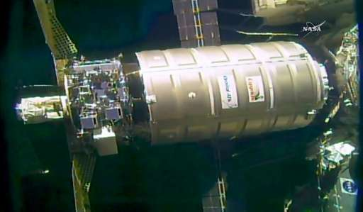 The unmanned Cygnus resupply ship operated by the US company OrbitalATK is show making a delivery to the International Space Sta