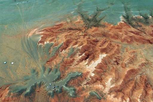 This aerial picture shows the Flaming Cliffs in the Gobi desert