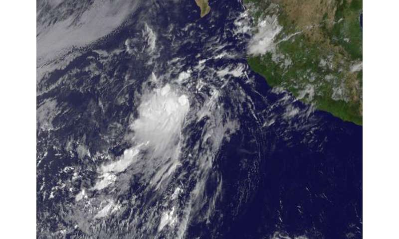 Tropical Depression 11E 'born' with wind shear on satellite imagery