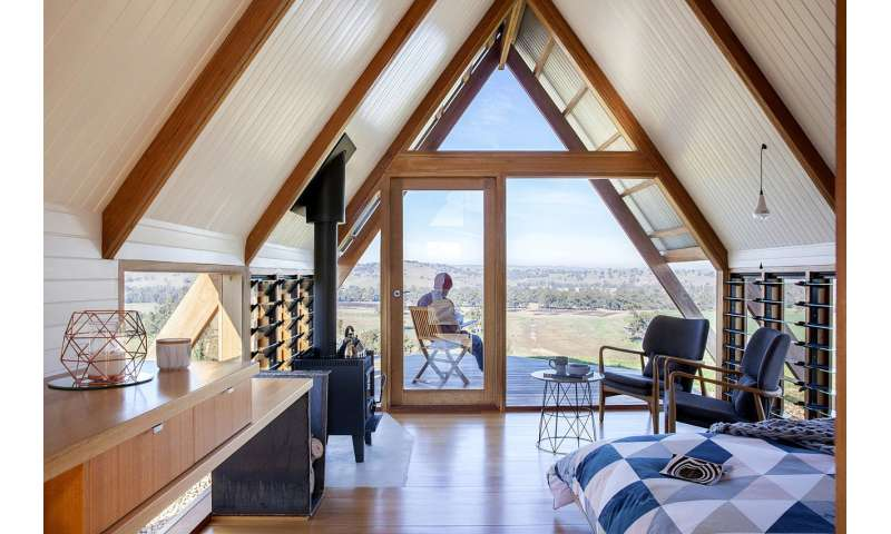 Eco-friendly hut in Australia finds inspiration in A-frame tent