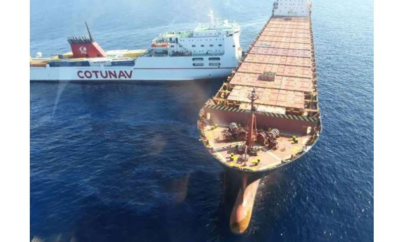 French police released a photo showing the Tunisian-operated Ulysee cargo ship, left, after it rammed the Cyprus-based CLS Virgi
