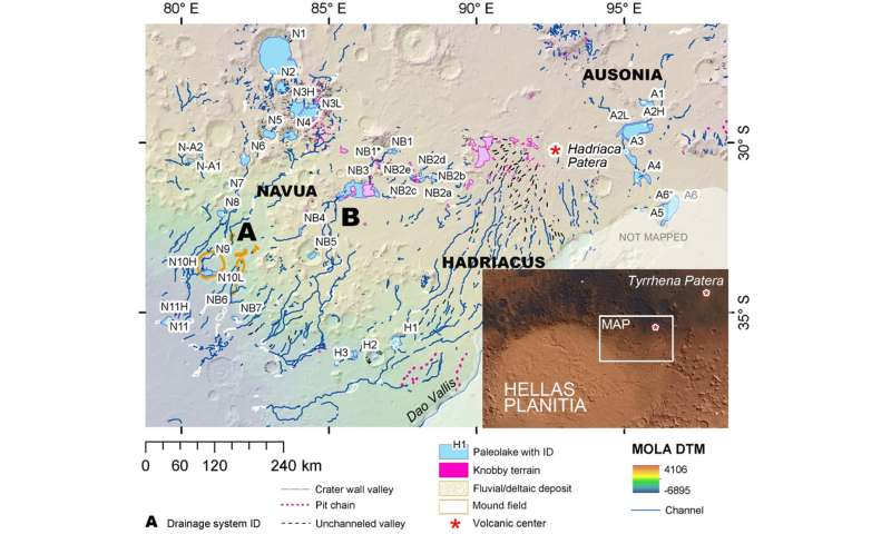 Groundwater and precipitation provided water to form Hellas Basin lakes throughout Mars history