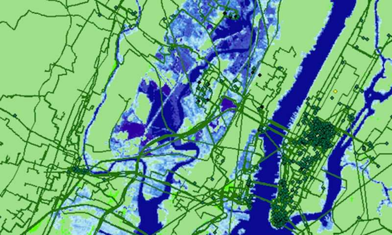 Key internet connections and locations at risk from rising seas