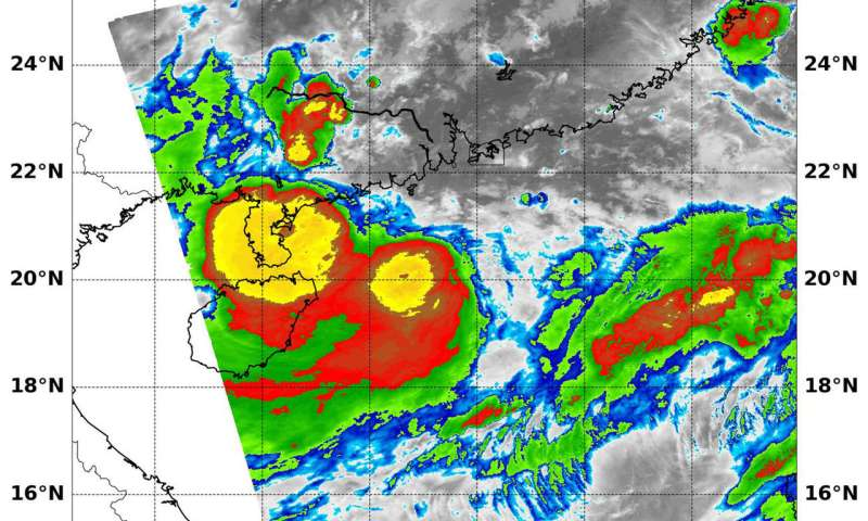 NASA finds powerful storms over south China from Tropical Storm Bebinca