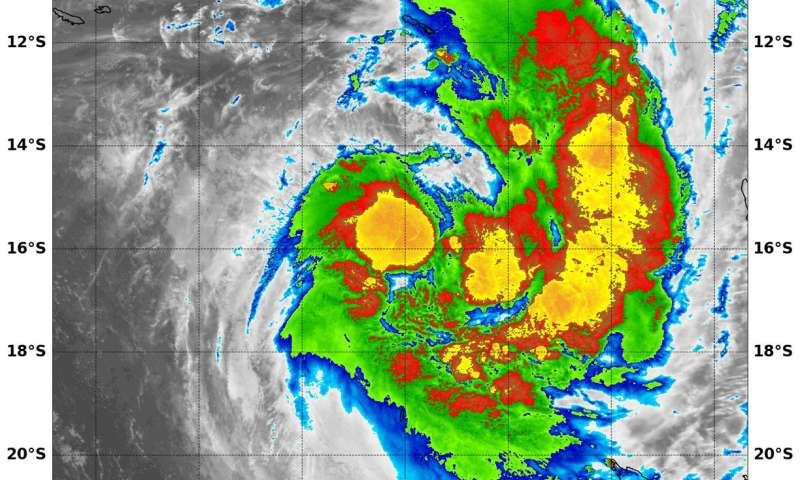 NASA finds strongest storms in newly formed Tropical Cyclone 13P