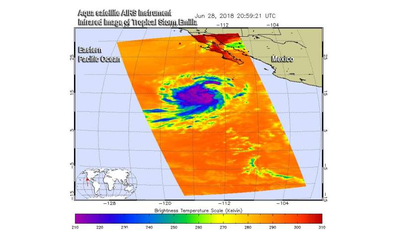 NASA infrared data reveals Tropical Storm Emilia is strengthening