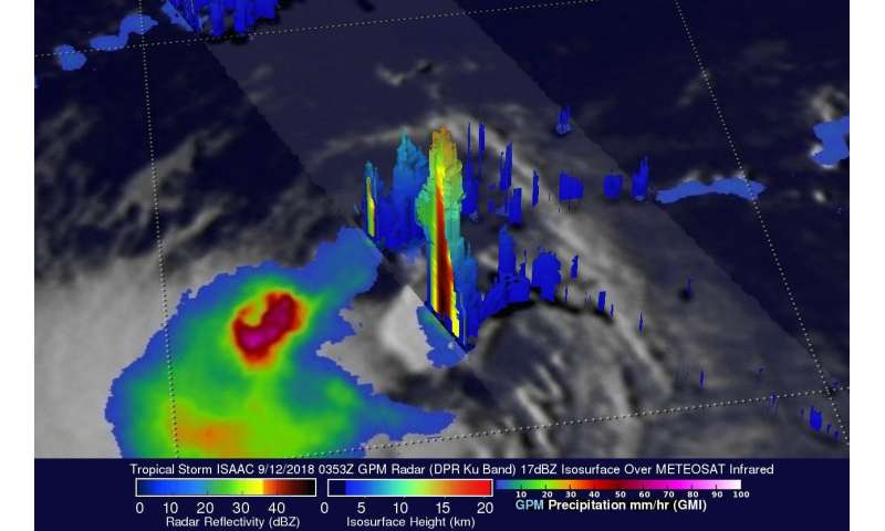 NASA/JAXA satellite finds heavy rainfall in Tropical Storm Isaac