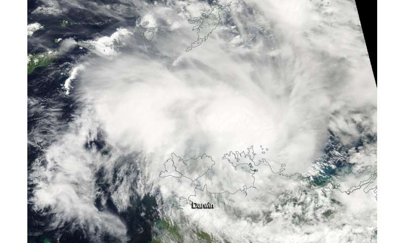 NASA satellite finds Tropical Cyclone Marcus near Australia's Cobourg Peninsula Coast