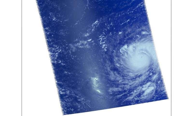 NASA sees Typhoon Jebi moving through Northwestern Pacific