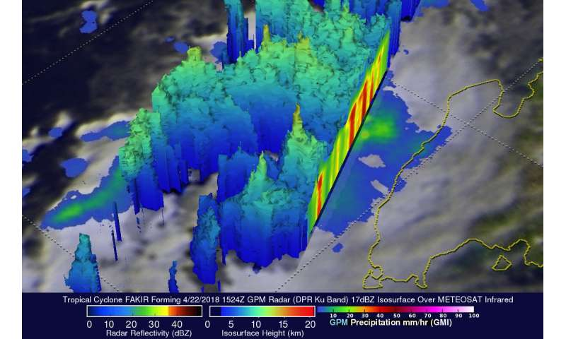 NASA's GPM sees Tropical Cyclone Fakir forming near Madagascar