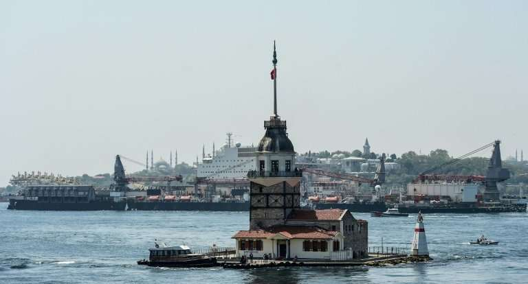 Pioneering Spirit passed the Maiden's Tower at the southern entrance to the Bosphorus