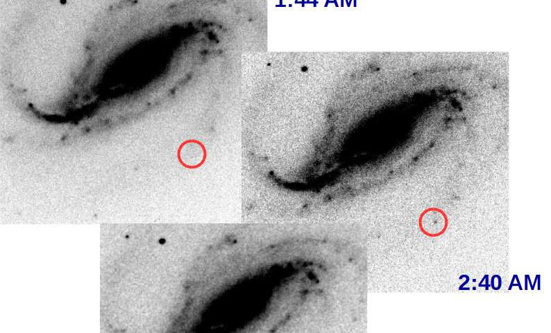 Rare first moment of stellar explosion captured by amateur astronomer
