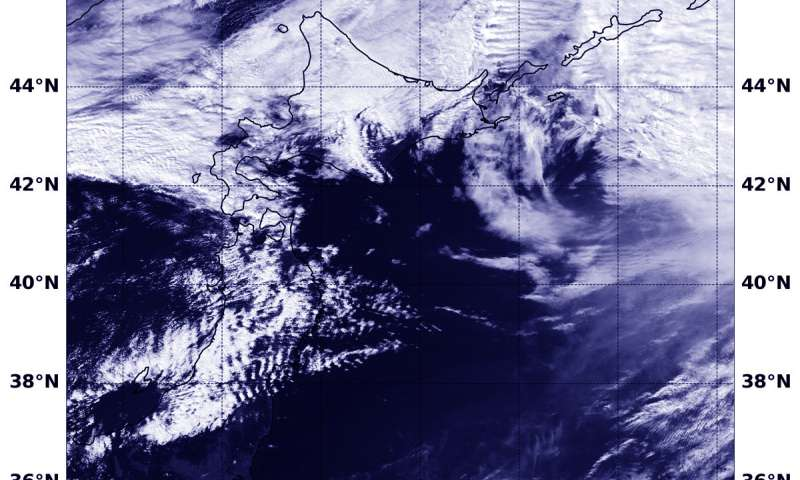 Satellite sees extra-Tropical Cyclone Trami moving past Japan