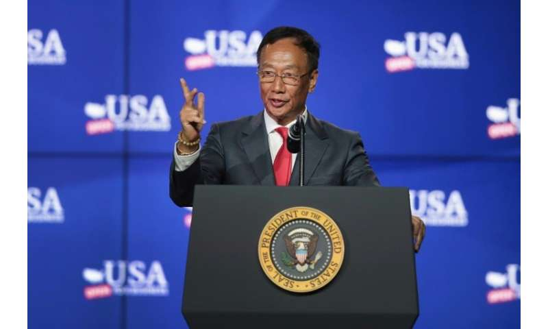 Terry Gou, chairman of Foxconn Technology Group, speaks at a groundbreaking ceremony in June for a new Foxconn factory complex i