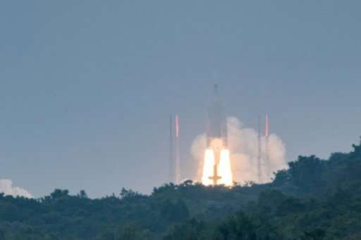 The Ariane 5 rocket blasted off in French Guiana on Tuesday with four more satellites for the Galileo navigation system, schedul
