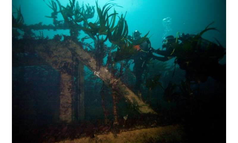 The wreck of the Amoco-Cadiz lies 25 metres under the sea off the coast of Portsall, north-eastern France