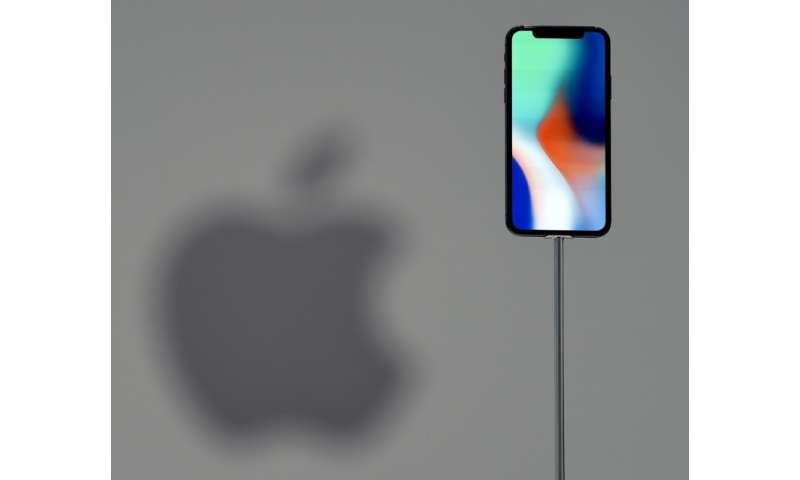 This file photo taken on September 12, 2017 shows an iPhone X during a media event at Apple's new headquarters in Cupertino, Cal