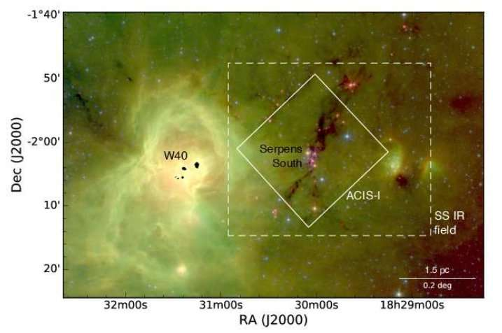 Astronomers detect almost one hundred new young stellar objects in Serpens South