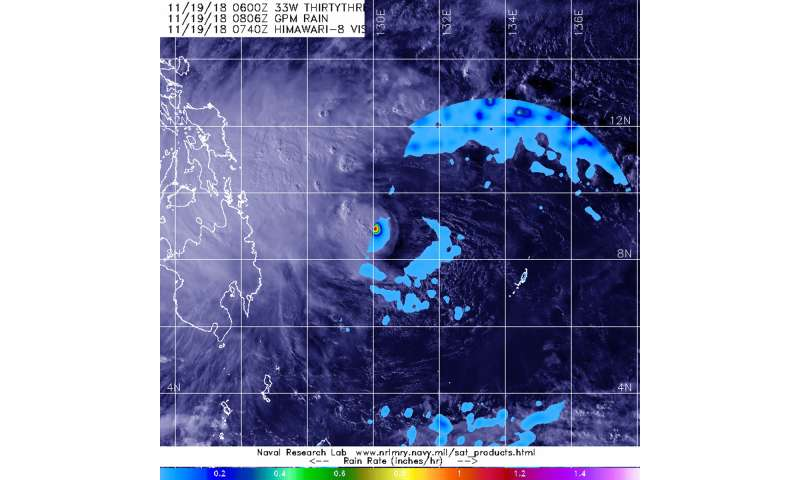 GPM satellite sees light rain occurring in Tropical Depression 33W's eastern side