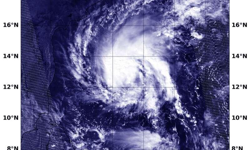 Tropical Cyclone Gaja approaching Southeastern India