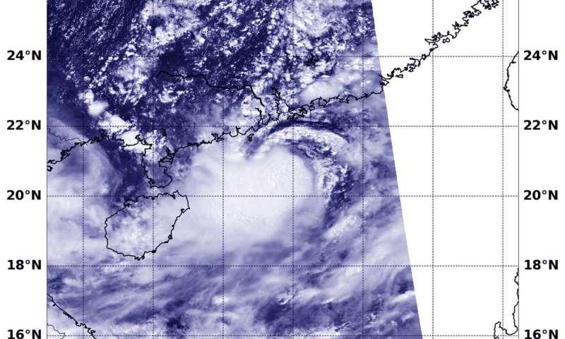 NASA-NOAA's Suomi NPP satellite sees Bebinca east of Hainan Island