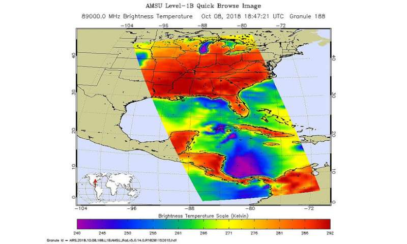 NASA's Aqua satellite sees Hurricane Michael strengthening