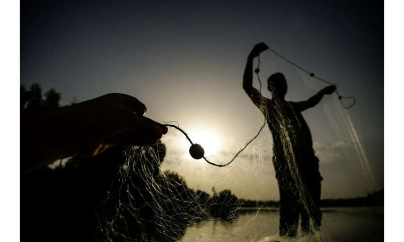 An Egyptian fisherman handles a net on his boat in the waters of the Pharaonic Sea on June 16, 2018