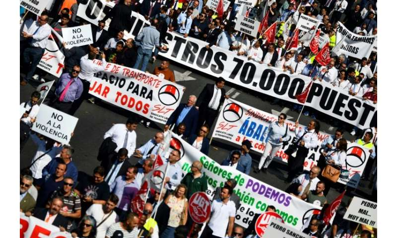 """Demonstrators in Madrid chanted """"Let us work!"""" as they made their way along the city's Paseo de la Castellana, accompa"""