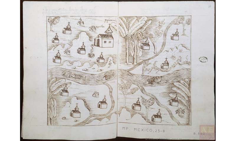 Hand-drawn maps imitating the printed maps in the 1st days of Hispano-American cartography