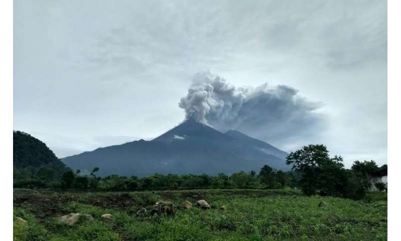 Handout picture released by the National Disaster Relief Agency of Guatemala showing the Fuego volcano erupting on June 3, 2018