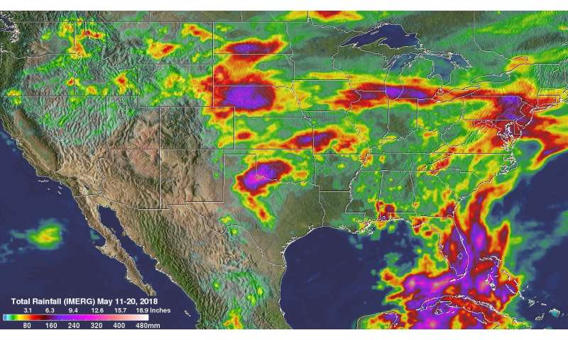 NASA measures heavy US rainfall from space
