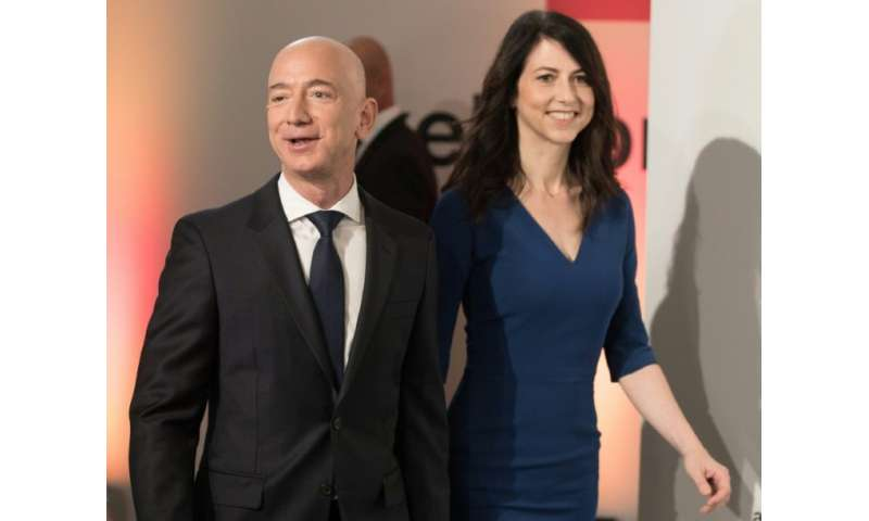 Amazon CEO Jeff Bezos and his wife MacKenzie Bezos are seen in Berlin in April 2018 where he received the Axel Springer Award