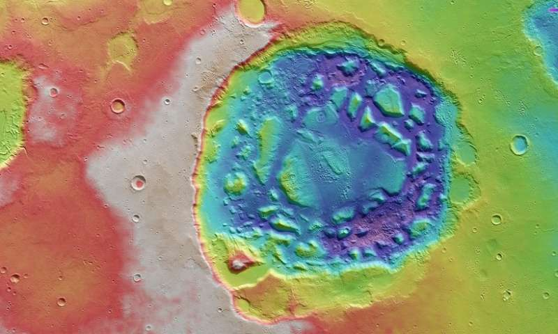 Mars impact crater or supervolcano?