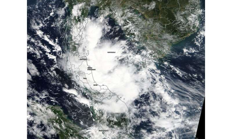 NASA tracks Tropical Depression Toraji in the Gulf of Thailand