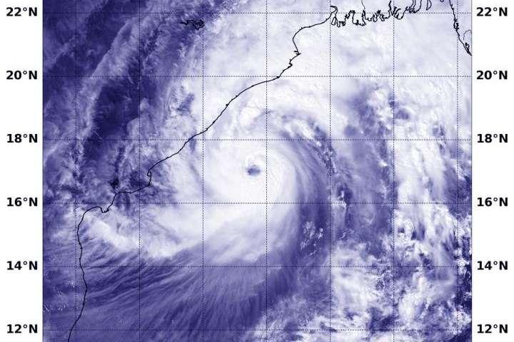 Satellite sees Tropical Cyclone Titli nearing landfall in Northeastern India