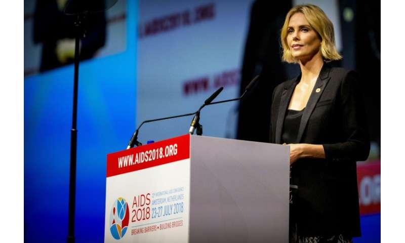 South African actress Charlize Theron speaks at the 22nd International AIDS conference in Amsterdam