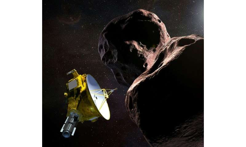 This artist's illustration obtained from NASA on December 21, 2018 shows the New Horizons spacecraft encountering 2014 MU69 – ni