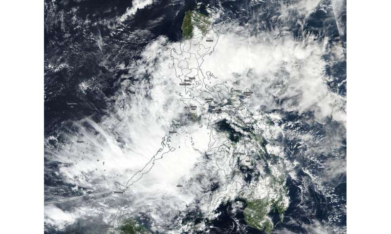 NASA sees tropical depression 33W enter the Sulu Sea