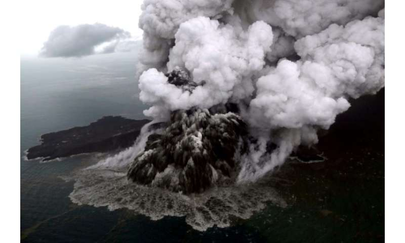 Anak Krakatoa is now just 110 metres high after losing two thirds of its height following the eruption that triggered the deadly