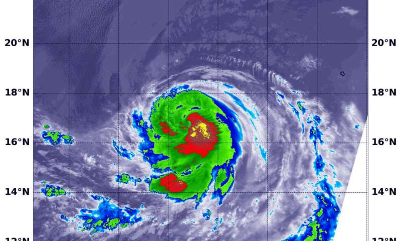 Infrared NASA data shows Hurricane Olivia's strongest sides