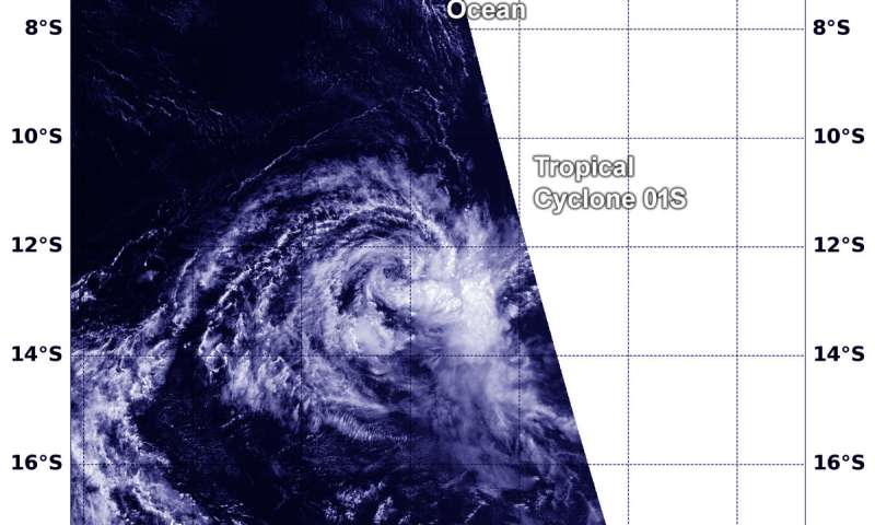 NASA catches Tropical Cyclone 01s's last breath in southern Indian Ocean