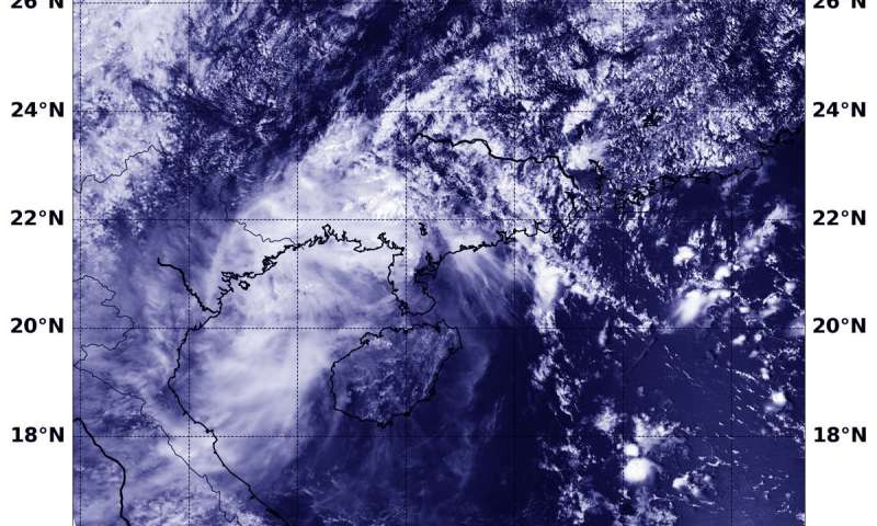 NASA-NOAA satellite finds Barijat crossing Gulf of Tonkin