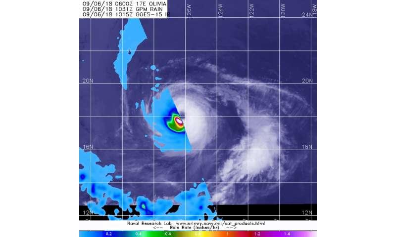 NASA's GPM finds heavy rain rings category 3 Hurricane Olivia's Eye